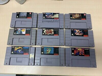 $ CDN254.71 • Buy Lot Of 9 SNES Super Nintendo Authentic Games TESTED & CLEANED!!!