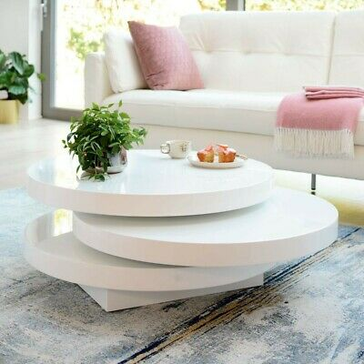 Triplo Rotating Coffee Table Round In White High Gloss • 278.95£