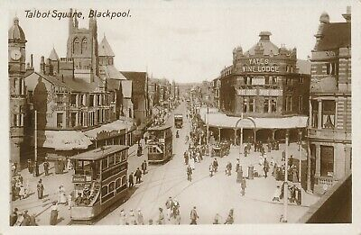 Lancashire Blackpool Real Photo Street Scene 2 Trams Shops • 6£