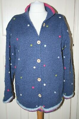 Size Large Pachamama Blue Dotty Wool Hand Crafted Cardigan With Fleece Lining • 9.99£