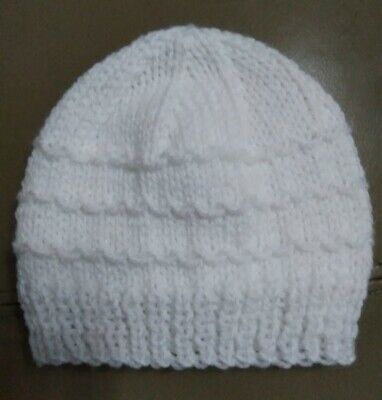 Hand Knit New Newborn/0-3 Months Baby Boy Girl  Hat (white) *baby Shower Gift* • 2£