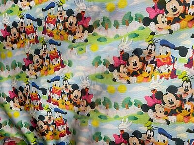 Mickey Mouse And Friends 100% Polyester Fabric 58''/59'' Wide By The Yard • 7.23£