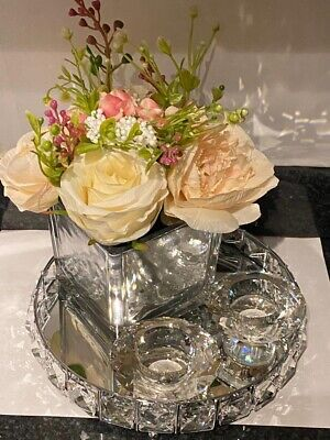 Mirror Cube Vase With Flowers , Crystal Candle Holders And Jewelled Tray Gift • 35.50£
