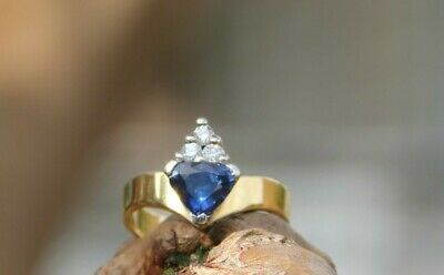 AU380 • Buy Stunning Trillion Cut Royal Blue Sapphire And Diamond Ring In 18K Yellow Gold