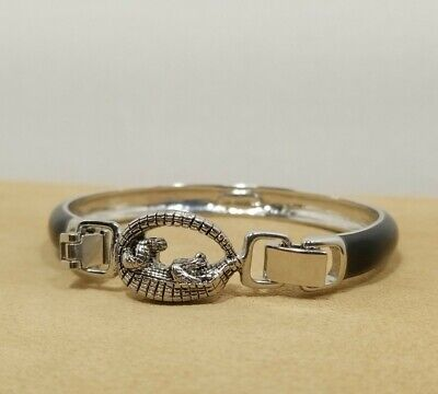 $ CDN25.31 • Buy Lia Sophia Black CHANGE IT UP Bracelet Silver Tone With Alligator Gator Clip