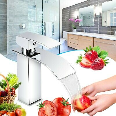 Waterfall Counter Top Mixed Tap Bathroom Hot And Cold Water Single Handle Faucet • 23.99£