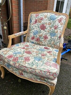 Large Shabby Chic French Armchair Chair Carver Upholstered • 145£