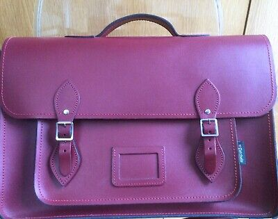 Zatchels Large Burgundy Leather Briefcase Satchel. Used Three Times. Pristine. • 18.85£