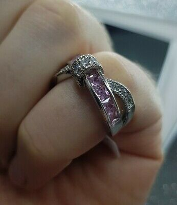 Womans Size P. Pink & White Topaz 925 Silver Plated Ring • 5.49£