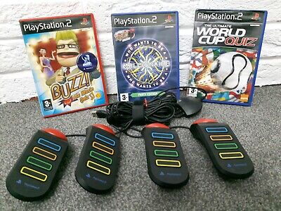 BUZZ QUIZ Bundle Of 3 Games With Controllers Buzzers PlayStation 2 PS2 Games • 29.95£