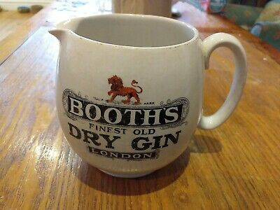 Vintage Booth's Finest Old Dry Gin London Pub Water Jug By McDonald Swan & Co • 9.99£