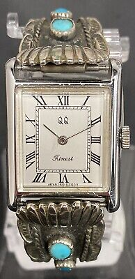 $ CDN158.25 • Buy Vintage Qq Finest Ladies Windup Watch Silver With Turquoise American Indian Band