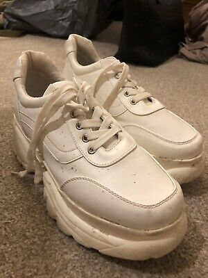 Missguided White Stomper Trainers Size 8 Women's Shoes Worn Once • 1.10£