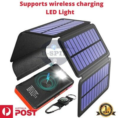 AU74.99 • Buy Solar Power Bank Waterproof Wireless 30000mAh QI Fastest Charger 2 USB 3 Panel
