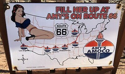 $ CDN15.95 • Buy Vintage Porcelain Amy's Amoco Route 66 Gas And Oil Sign