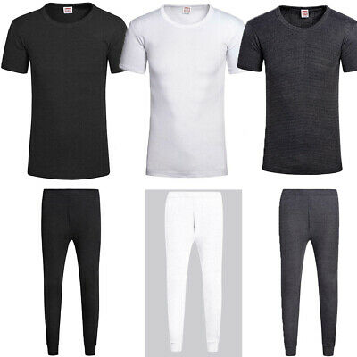 Mens Thermal Short Sleeve T Shirt Vest Top Long Johns Underwear Base Layer Set • 3.49£