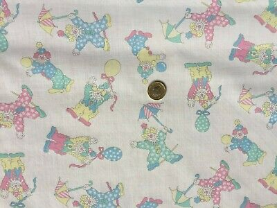 Clowns Print Baby Cot Bedding Bumper Quilt Polycotton White Fabric - 5 Metres • 14.99£