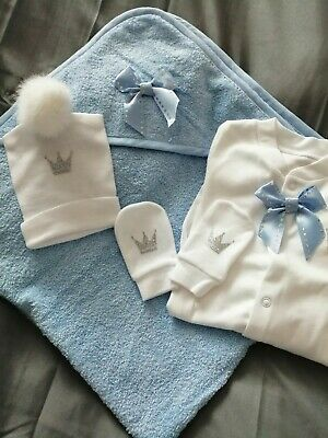 Newborn Baby Boys Babygrow Hat Mitts  And Towel Set Blue Silver White Romany • 14£