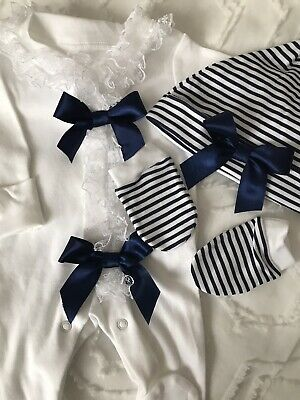 Newborn Baby Boys Babygrow Hat And Mitts Set Blue And White Romany • 12£