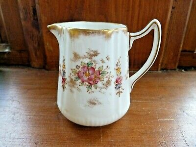 Victorian (?) Antique Milk Jug Hand Painted, Floral Dainty White Gilt China • 0.99£