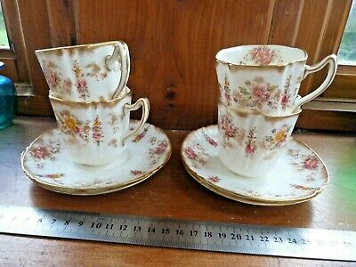 Victorian (?) Cups & Saucers Hand Painted, Floral Dainty White Gilt China Set 4 • 0.99£