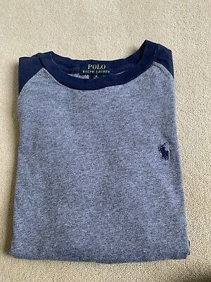 Boys Polo Ralph Lauren Navy And Grey Long Sleeved T Shirt Age 10-12 • 3.50£