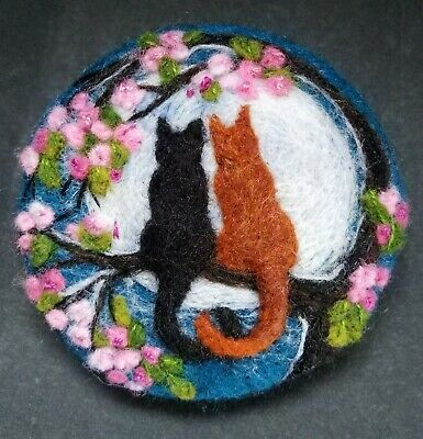Handmade Needle Felted Brooch/Gift   'The Love Cats'   By Tracey Dunn • 35£