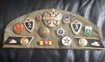 Soviet  Russian Military Hat Pilotka Cap With Patches And Badges • 5£