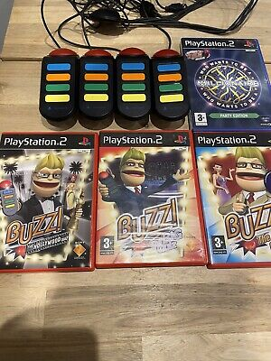 BUZZ QUIZ Bundle Of 4 Games With Controllers Buzzers PlayStation 2 PS2 Games • 37.99£