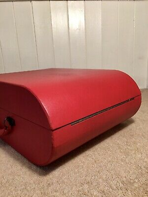 *Art-Deco* The Red Decca~Curve WindUp Portable Gramophone 1940~Fully Serviced. • 355£