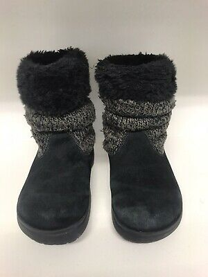 Crocs Black Ladies Boots Knitted Cuffs Size 5 • 4.99£