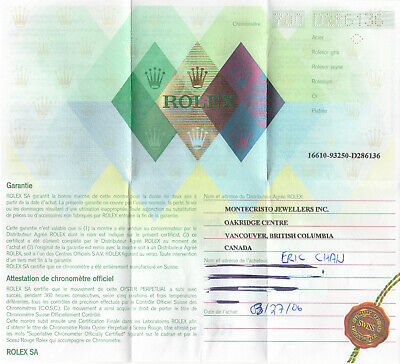 $ CDN399.95 • Buy 2006 Genuine Rolex Original Vintage Warranty Papers 16610 Submariner - Punched