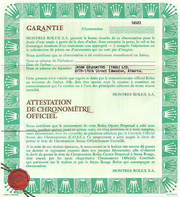 $ CDN399.95 • Buy 1991 Genuine Rolex Original Vintage Warranty Papers 16523 Zenith Daytona