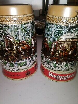 $ CDN23.71 • Buy 2)1987 Budweiser Clydesdale Collector Holiday Beer Stein C Series Anheuser Busch