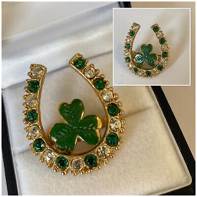 Vintage Costume Jewellery Gold Tone Lucky Horse Shoe 3 Leaf Clover Brooch Pin • 0.99£