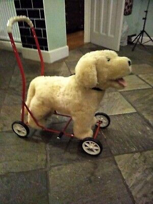 Toy Golden Retriever Dog On Wheels, Ride On - Leather Lead & Collar - Excellent • 50£