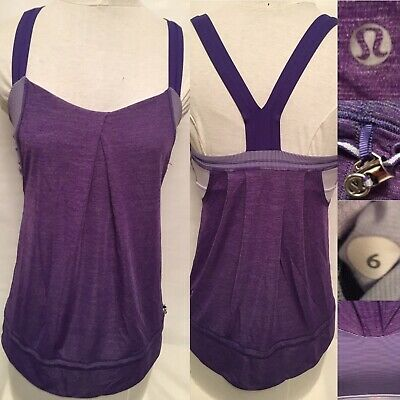 $ CDN24.99 • Buy Lululemon Rest Less Tank Top Purple Striped Bra Lightweight Shirt Woman Size 6