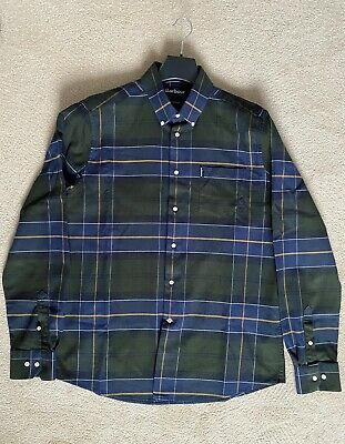 Barbour Lustleigh Shirt, Mens, Size Large, Tailored Fit, Green/Navy Checked. • 30£