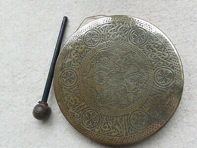 Vintage Egyptian Engraved Brass Gong With Leather Topped Striker • 20£