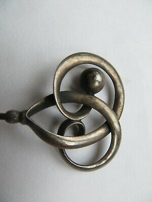 Antique Charles Horner Silver Hatpin With 2 Swirls And A Silver Ball 1913? • 25£
