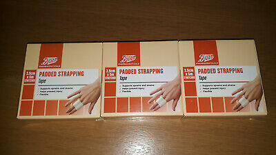 3 X Boots Padded Strapping Tape 2.5cm X 5m Stretched First Aid Dressing - NEW • 9.80£