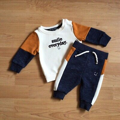 Baby Boy Clothes 0-3 Months Outfit Smile Every Day Top Matching Jog Bottoms • 3£