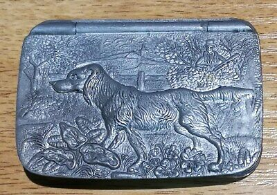 Pewter Hunting Dog Snuff Box In The Style Of James Dixon & Sons • 42£