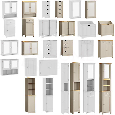 £38.95 • Buy Bathroom Cabinet Single Double Tall Wall Cupboard Shelves White Wood Grey Priano