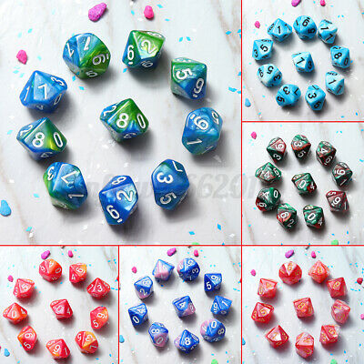 AU9.29 • Buy 10 Pcs/Set 10 Sided Dice D10 Polyhedral Dice For Table Games DnD RPG MTG