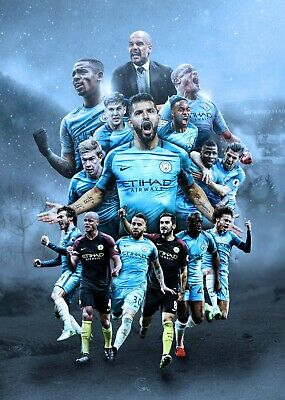 Manchester Man City Football Club Sport Print Poster Wall Fine Art Picture A4 + • 3.99£