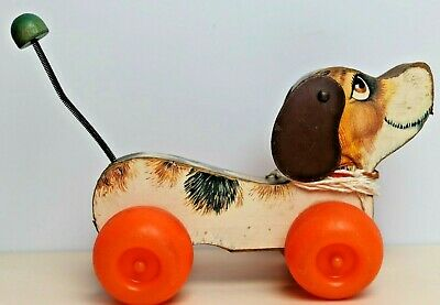VINTAGE 1965 FISHER PRICE LITTLE SNOOPY PULLALONG 693 WOODEN DOG TOY 60's  • 19.99£