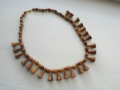 Wooden  Bead Necklace Boho Style • 4.75£