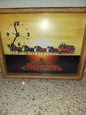 $ CDN87.86 • Buy 1995 Framed Famous Budweiser Clydesdale Beer Clock Americana - FREE SHIPPING!