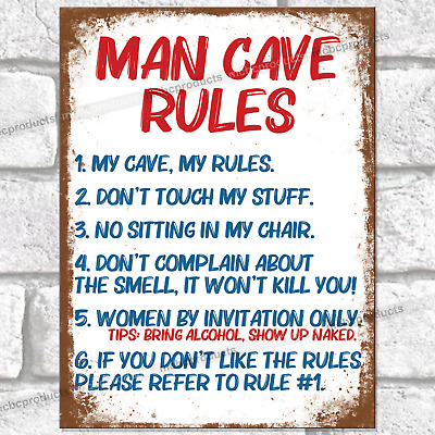 £4.95 • Buy MAN CAVE RULES Funny Metal Signs Mancave Wall Retro Plaque Joke Novelty Tin Sign